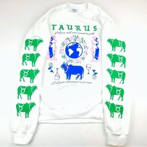 Taurus Zodiac Sign Large Prints Crewneck Sweater